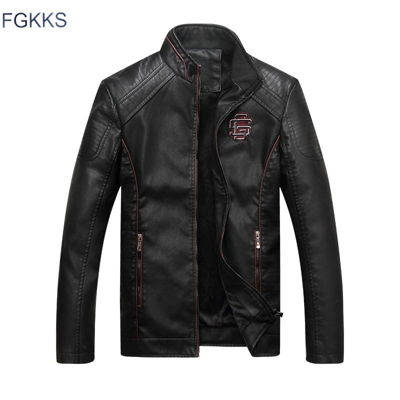 [해외]FGKKS 브랜드 새 가죽 자켓 남자 Jaqueta De Couro Masculina Avirex 가죽 자켓 Inverno Couro Mens 스탠드 칼라 자켓/FGKKS Brand New Leather Jackets Men Jaqueta De Couro Mas