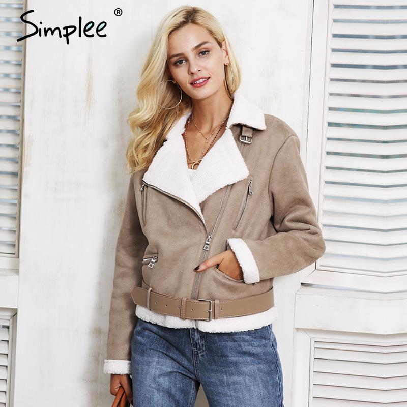 [해외]심플 가죽 스웨이드 램 모피 재킷 코트 여성 스웨이드 재킷 벨트 엎드려 겨울 코트 여성 캐주얼 지퍼 모토 오버 코트/Simplee Leather suede lamb fur jacket coat women Faux suede jacket belt turn-down