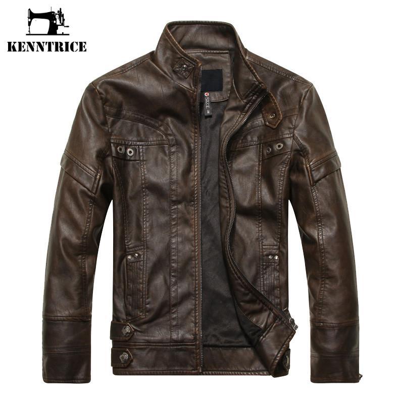[해외]Kenntrice 봄 가을 오토바이 가죽 자켓 남자 슬림 짧은 스탠드 칼라 폭탄 재킷 가짜 가죽 자켓 모피 코트 스웨이드/Kenntrice Spring Autumn Motorcycle Leather Jacket Men Slim Short Stand Collar