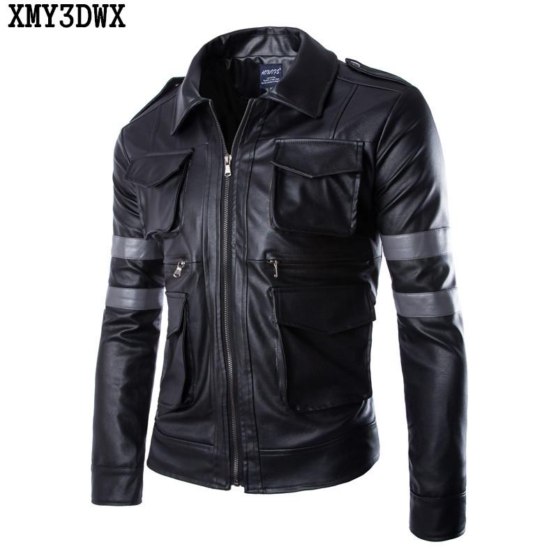 [해외]XMY3DWX 2017 남성 고급 부츠 가을 가죽 고급 가죽 자켓 / 남성 슬림 피트 옷깃 / 가죽 자켓/XMY3DWX 2017 Men&s boutique autumn high-grade leather jackets / Male slim fit lapels le