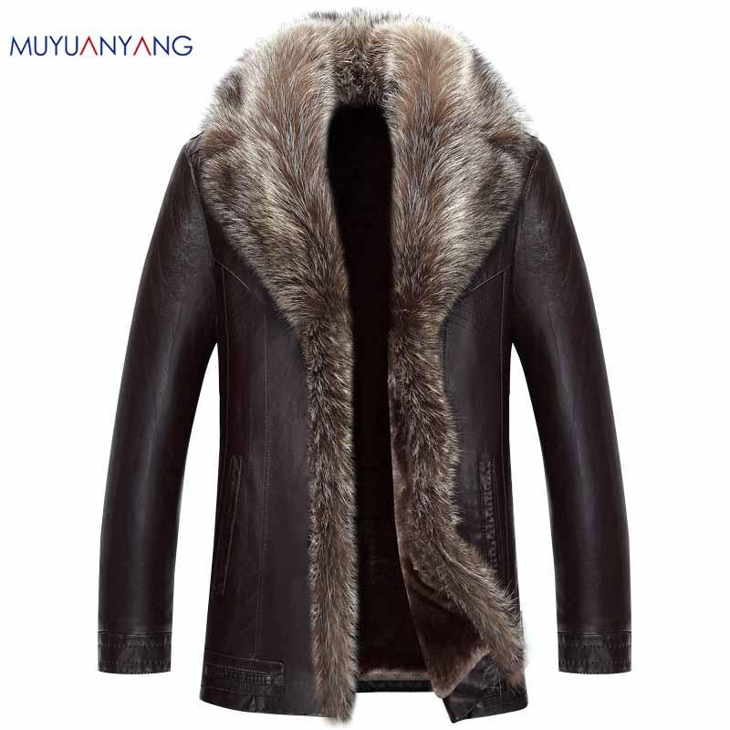 [해외]Mu Yuan 양 망 가짜 모피 겨울 가죽 코트 남자 캐주얼 가짜 가죽에 대 한 50 % 가짜 가죽 코트 Overcoat 3XL 4XL 해제/Mu Yuan Yang Mens Faux Fur Winter Leather Coat For Male Casual Faux