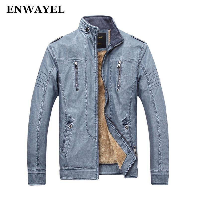 [해외]ENWAYEL 가을 겨울 PU 남성 가짜 가죽 자켓 남성 캐주얼 포켓 두꺼운 따뜻한 벨벳 남성 자 켓 코트 패치 워크 오토바이/ENWAYEL Autumn Winter PU Male Faux Leather Jacket Men Casual Pockets Thick