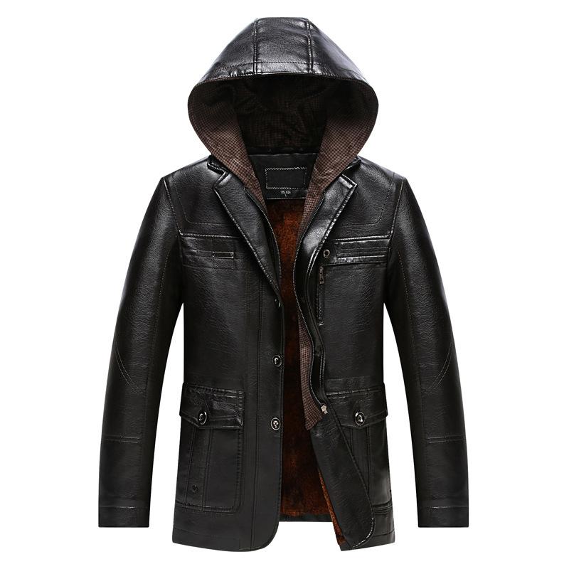 [해외]2017 새로운 슬림 두꺼운 후드 겨울 가죽 자켓 남자 Velet 안감 재킷 긴 Cuero Hombre/2017 New Slim Thick Hooded Winter Leather Jacket Men  Velet Lining Jacket Long Cuero Hom
