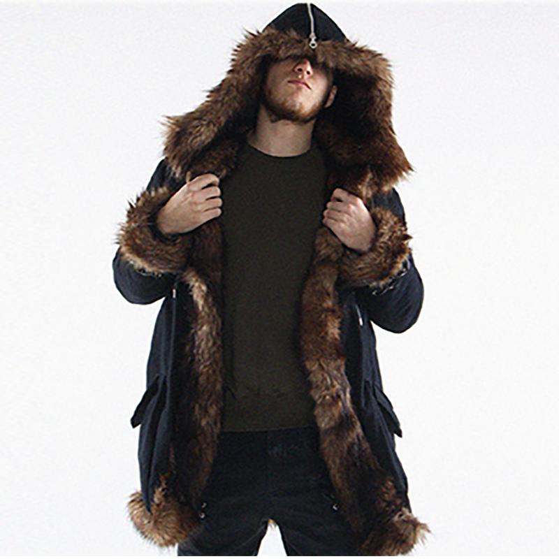 [해외]남성 모피 코트 겨울 모조 모피 아웃웨어 후드 코트 남성 펑크 파카 재킷 긴 가죽 양털  모피 브랜드 의류를 Overcoats/Men Fur Coat Winter Faux Fur Outwear Hooded Coat Men Punk Parka Jackets Lon