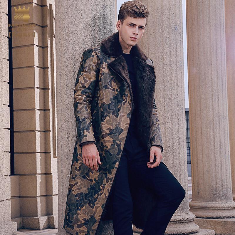 [해외]?fanzhuan 새로운 2017 패션 캐주얼 남자 남성 남자 & s 길고 슬림 따뜻한 코트 겨울 PU 가죽 모피 통합 710156/ fanzhuan New 2017 fashion casual man male Men&s long slim warm coat