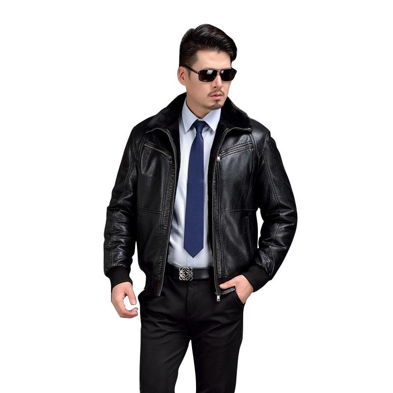[해외]AIBIANOCEL 남성용 겨울 가죽 자켓 ThickenFur Warm Jaqueta De Couro Masculino 모피 칼라 남성용 PU 가죽 자켓 바이커/AIBIANOCEL Mens Winter Leather Jacket ThickenFur Warm Ja