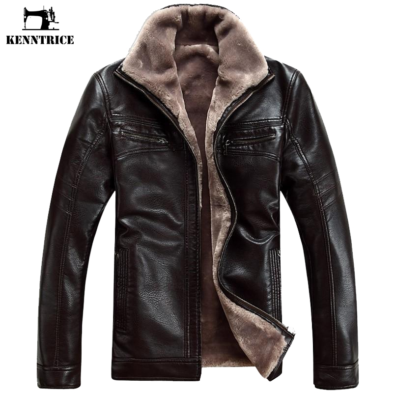 [해외]Kenntrice 겨울 두꺼운 가죽 자켓 남자 캐주얼 따뜻한 코트 윈드 브레이커 턴 다운 칼라 폭격기 자켓 Chaqueta cuero hombre/Kenntrice Winter Thick Leather Jackets Men Casual Warm Coats Win