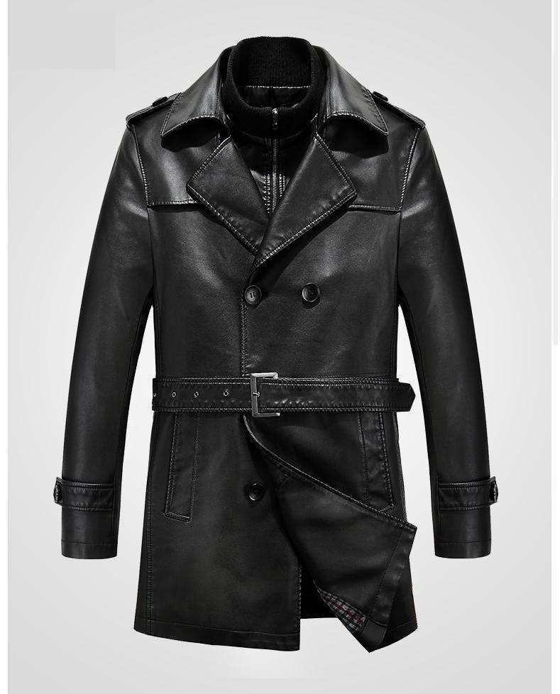 [해외]가을 겨울의 섹시 마라 남성용 가죽 트렌치 코트 롱 더블 브레스트 드 브랜드 양모 모피 코트 자케 아 쿠로 가죽 자켓/Sexemara Of Autumn Winter Men &s Leather Trench Coat Long Double Breasted Brand