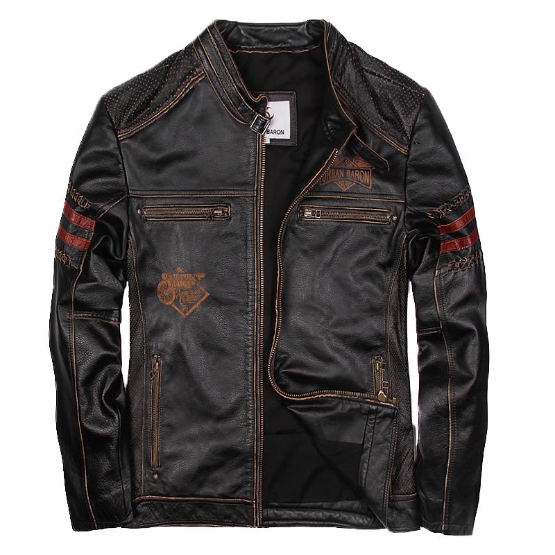 [해외]2018 남성 빈티지 블랙 가죽 자켓 스탠드 칼라 플러스 사이즈 XXXL 남성 겨울 슬림 피트 숏 가죽 바이커 코트/2018 Men Vintage Black Leather Jacket Stand Collar Plus Size XXXL Men Winter Slim