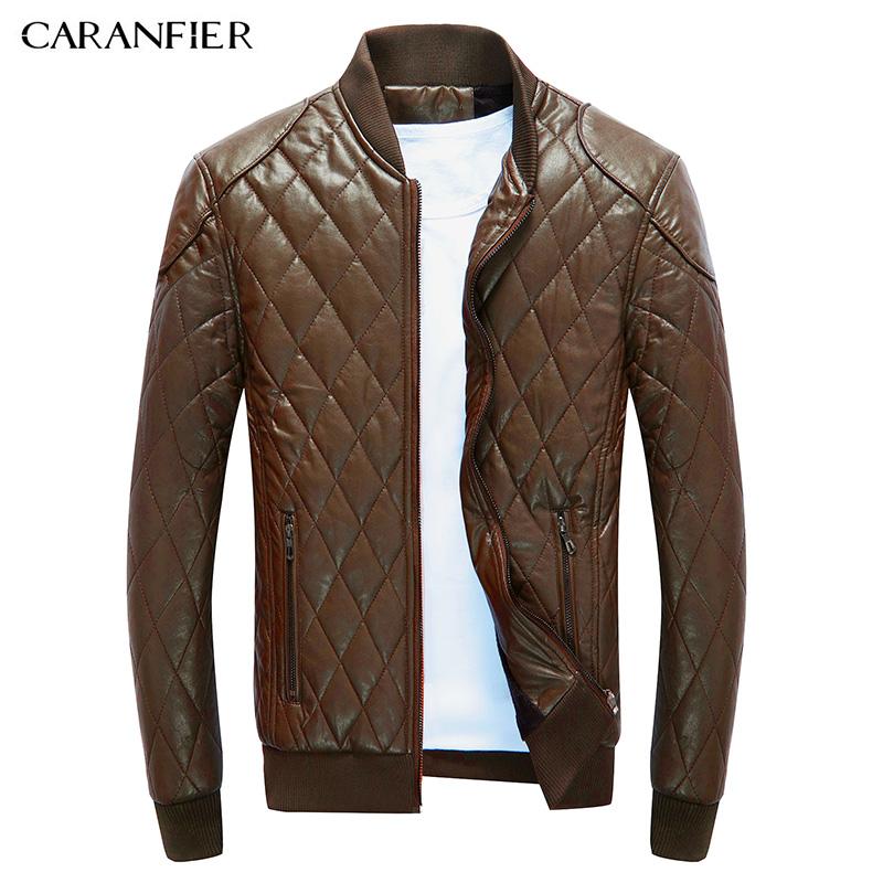 [해외]CARANFIER 새 남성 가죽 자켓 격자 무늬 남성 패션 따뜻한 블랙 캐주얼 기업인 스타일 오토바이 자켓 남성/CARANFIER New Men  Leather Jacket Plaid Male Fashion Warm Black Casual Businessmen