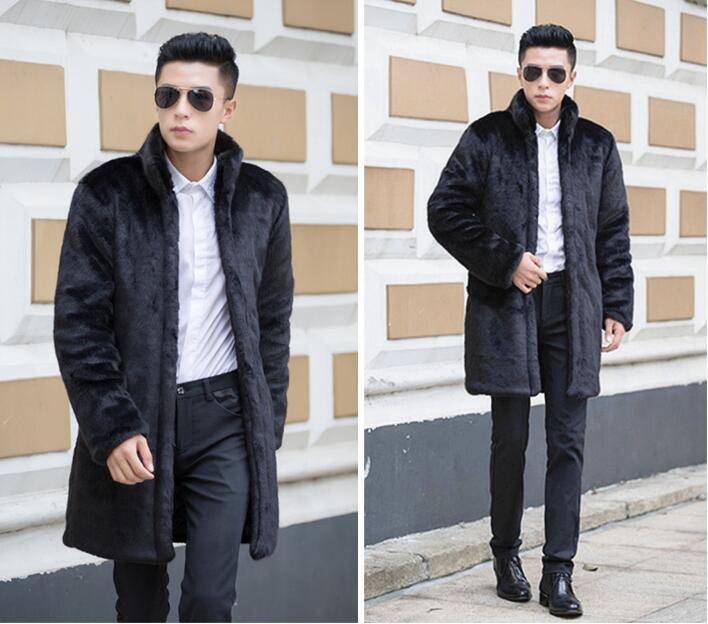 [해외]맞춤형 겨울 따뜻한 밍크 가죽 자켓 중간 긴 모피 가죽 코트 남성 슬림 재킷 패션 스탠드 칼라 두꺼운/Personalized winter thicken warm mens mink leather jacket medium long fur leather coat me