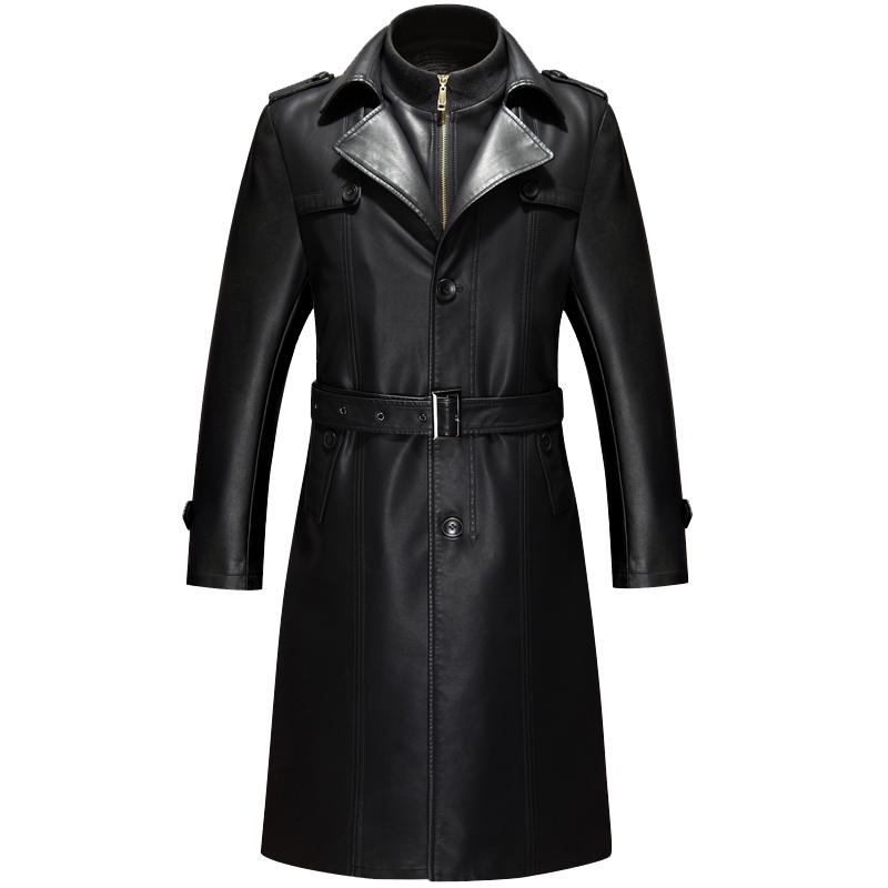 [해외]2017 년 가을 새로운 X- 긴 가죽 코트 남자 슬림 피트 모토 자켓 가죽/2017 Autumn New X-long Leather Coat Men  Slim Fit Moto Jacket Leather