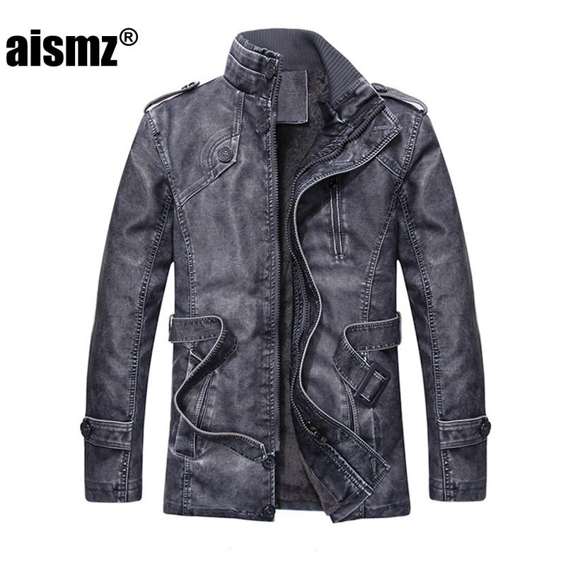 [해외]Aismz leather Jacket 남성 2017 겨울 코트 자켓 Thick Warm 65 % PU 캐주얼 지퍼 의류 남성 플러스 사이즈 L-4XL Q7/Aismz leather Jacket Men 2017 Winter Coats Jackets Thicken