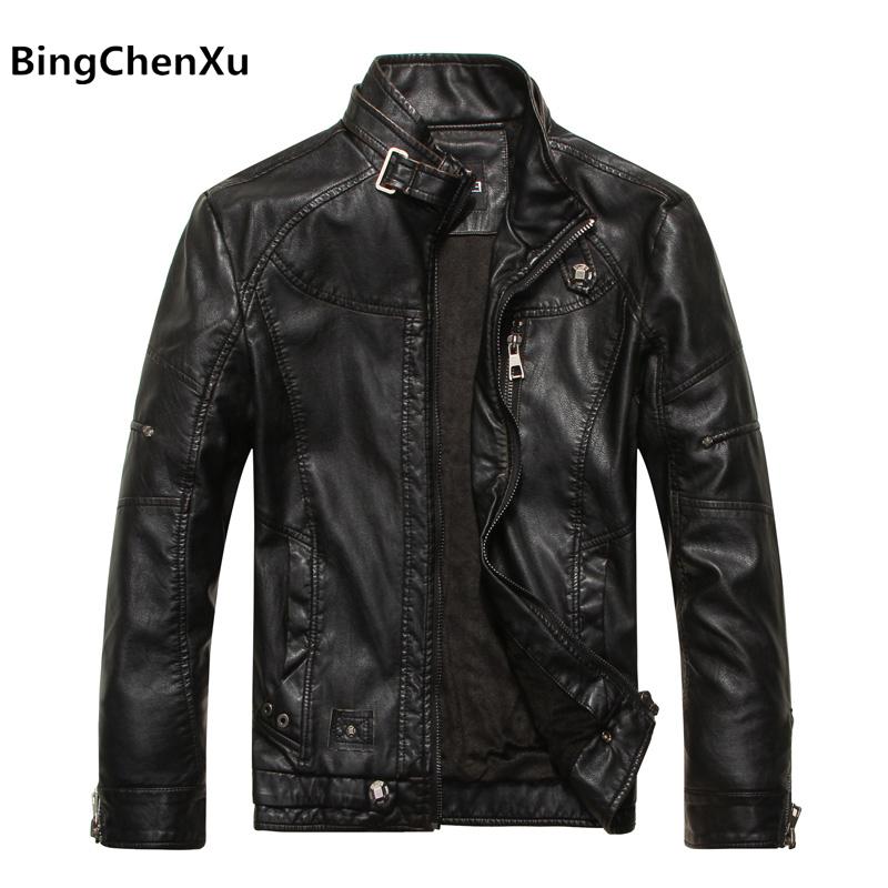 [해외]오토바이 가죽 자켓 브랜드 패션 품질 겨울 남자 & s 가죽 자 켓 따뜻한 코트 레저 남자 & s 자 켓 바이 커 남자 & s 코트 455/motorcycle leather jacket brand fashion quality winter m