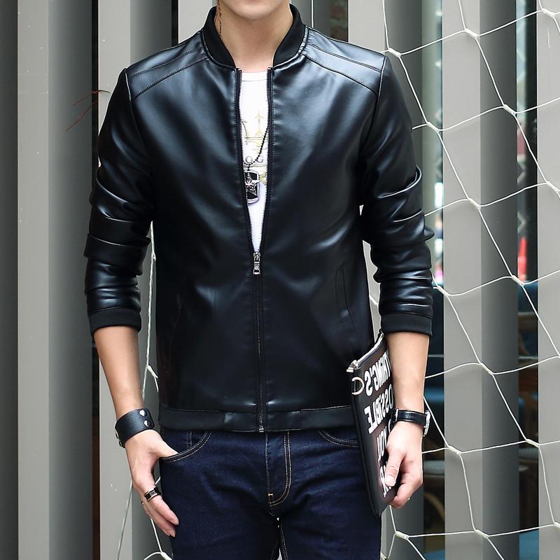 [해외]탑 남성용 가죽 자켓과 코트 슬림핏 Erkek Mont New 패션 브랜드 스탠드 칼라 가죽 자켓 남성 캐주얼 자켓 가죽/Top Mens Leather Jackets And Coats Slim Fit Erkek Mont New Fashion Brand Stand