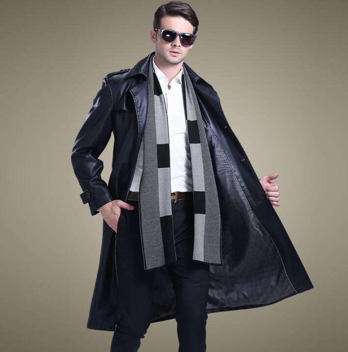 [해외]한국어 가을 검은 정장 칼라 캐주얼 가죽 코트 남성 슬림 싱글 브로드 길이 코트 망 가죽 트렌치 코트 패션 4XL/Korean autumn black suit collar casual leather coats men slim single-breasted long
