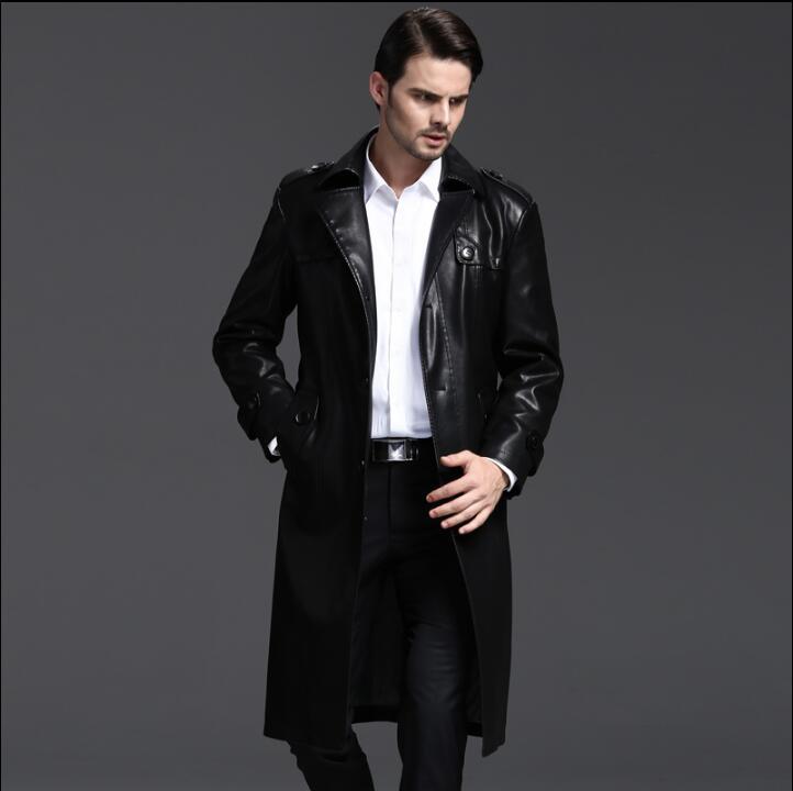 [해외]한국 겨울 가을 캐주얼 분리형 라이너 가죽 코트 남성 싱글 슬림 한 긴 코트 망 가죽 트렌치 코트/Korean winter autumn black casual detachable liner leather coats men slim single-breasted l
