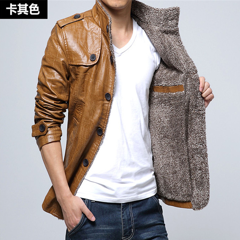 [해외]겨울 가죽 자 켓 남자 코트 4XL 브랜드 PU 겉 옷 남자 비즈니스 겨울 가짜 모피 남성 자 켓 양 털 M-4XL/Winter Leather Jacket Men Coats 4XL Brand  PU Outerwear Men Business Winter Faux