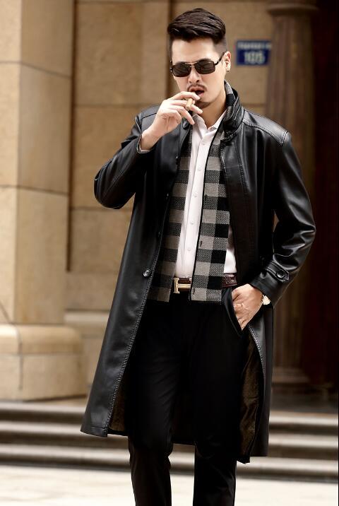 [해외]스탠드 칼라 2018 가을 얇은 긴 가죽 남성 캐주얼 싱글 브레스트 코트 망 가죽 트렌치 코트 블랙 패션 M - 3XL/Stand collar 2018 autumn thin long leather coats men casual Single-breasted coa