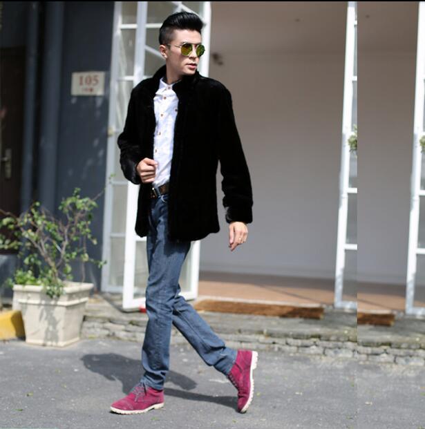 [해외]가을 겨울 따뜻한 겉옷 영국 스타일 Villus 가을 겨울 코트 모직 코트 가죽 남성 자켓 남성 코트 따뜻한 블랙 스탠드/Black stand collar warm Faux Mink fur coat mens leather jacket men coats Villu
