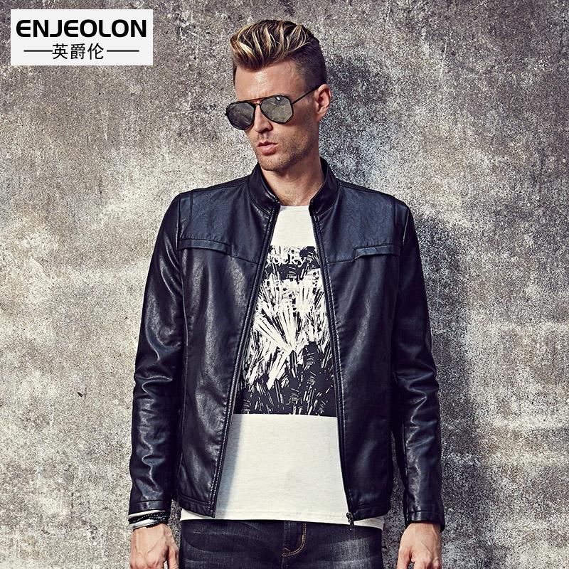 [해외]Enjeolon 브랜드 최고 새로운 오토바이 가죽 PU 자 켓 남자, 패션 지퍼 팔목 블랙 의류, 스탠드 칼라 남성 캐주얼 코트 P250/Enjeolon brand top new Motorcycle Leather PU Jacket Men,fashion zippe