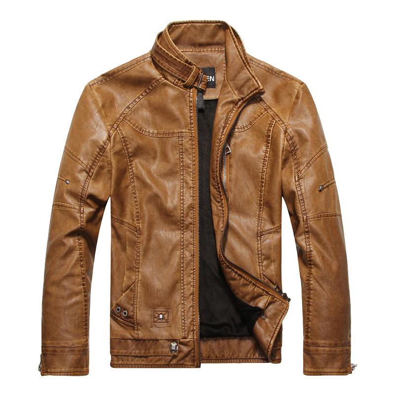 [해외]가죽 자켓 남자 가을 겨울 남성 스탠드 칼라 슬림 PU 오토바이 자켓 플러스 벨벳 따뜻한 가죽 코트 m - 3XL 8822/leather jacket men autumn and winter male stand collar slim PU motorcycle jac