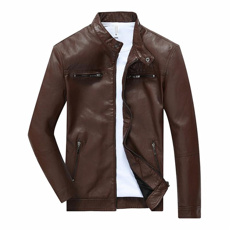 [해외]봄 가을 오토바이 자켓 남성 스탠드 칼라 지퍼 장식 남성 솔리드 가죽 코트 jaqueta de couro masculino/Spring Autumn Motorcycle Jacket Men Stand Collar Zipper Decoration Male Solid