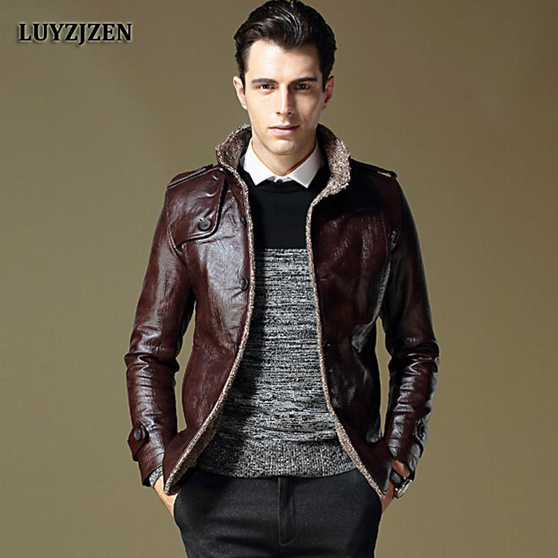 [해외]가짜 가죽 자켓 남자 2017 가을 겨울 캐주얼 두꺼운 따뜻한 코트 남자 & 오토바이 Outwear PU 자켓 플러스 사이즈 옴므 953/Faux Leather Jacket Men 2017 Autumn Winter Casual Thick Warm Coat