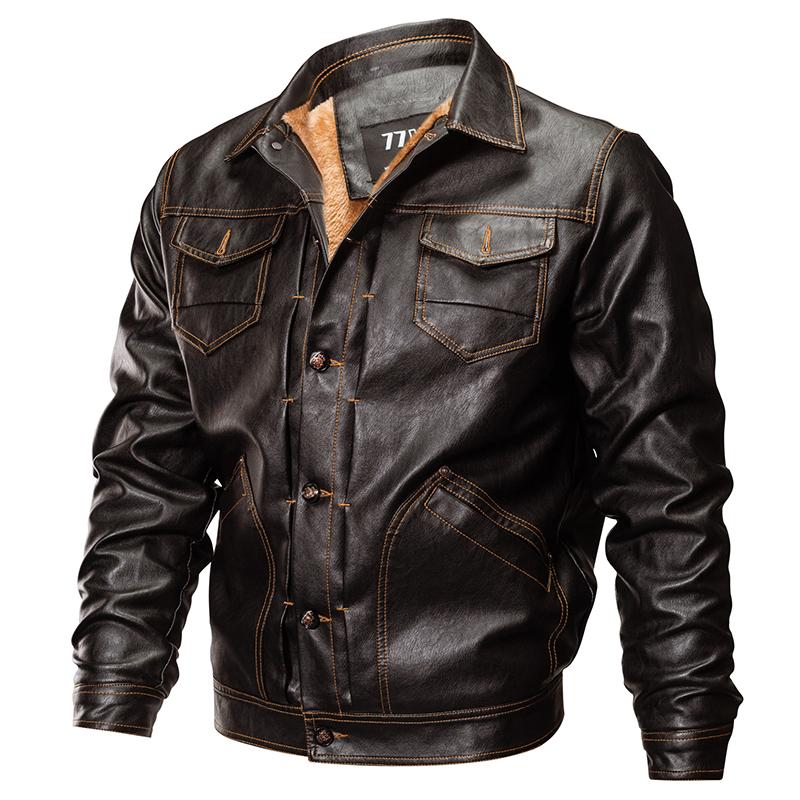 [해외]새로운 겨울 파일럿 폭탄 가죽 재킷 남자 전술 육군 밀리터리 양털 코트 가을 두꺼운 따뜻한 가짜 가죽 오토바이 재킷/New Winter Pilot Bomber Leather Jacket Men Tactical Army Military Fleece Coat Aut
