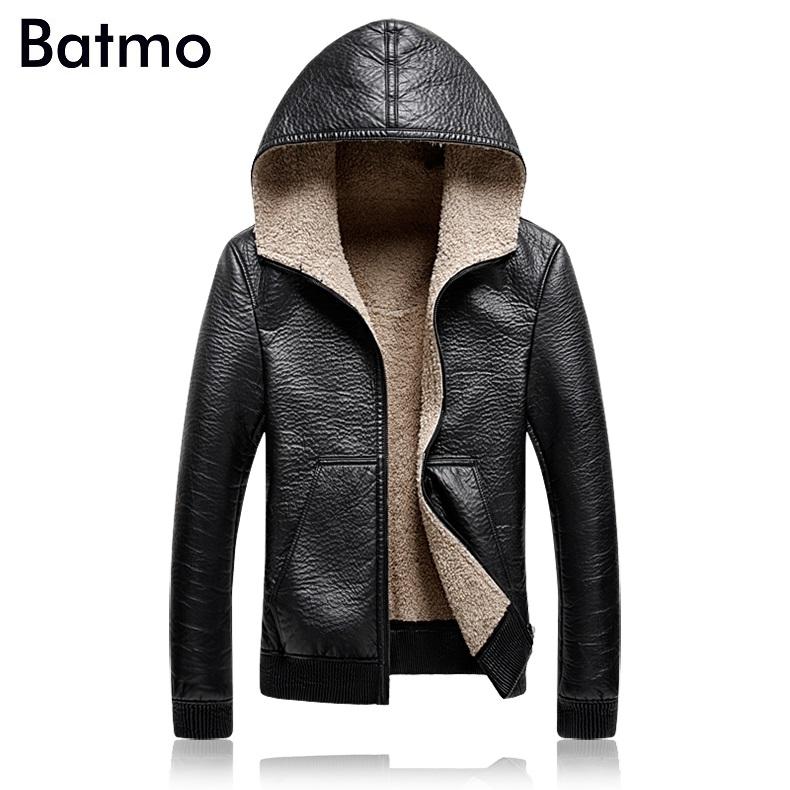 [해외]Batmo 2017 겨울 고품질 PU & 캐시미어 라이너 캐주얼 후드 자켓 남성, PU 코트 남성 플러스 사이즈 M ~ 5XL A63/Batmo 2017 new arrival winter high quality PU&Cashmere liner ca