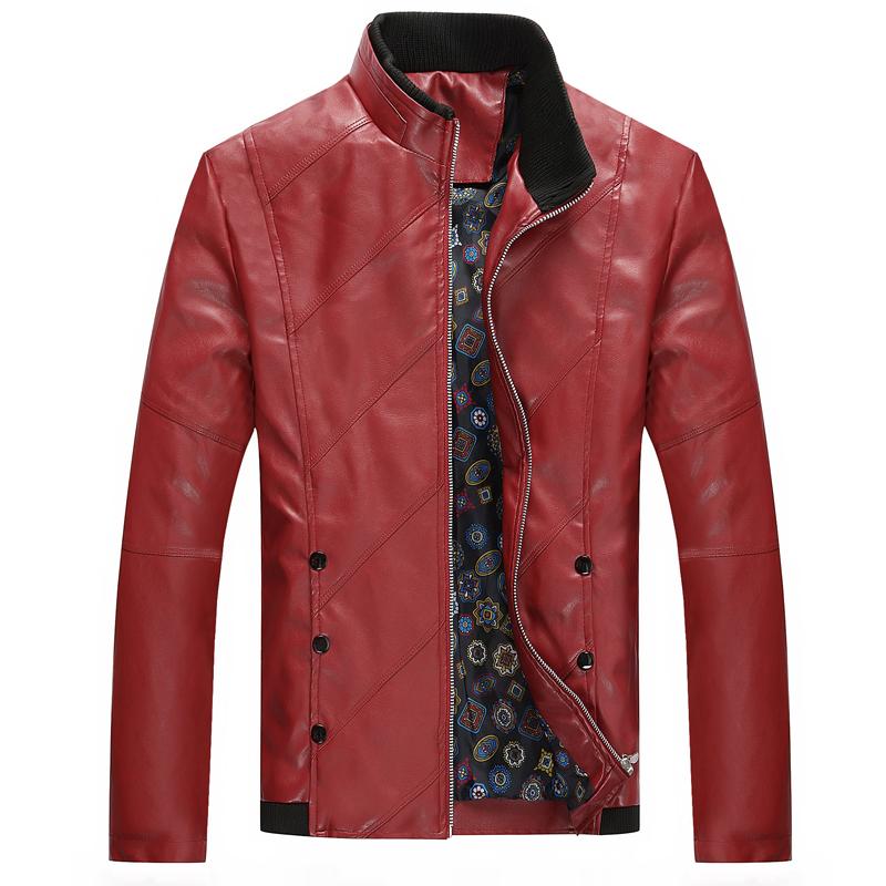 [해외]2018 봄 가을 남성 & 캐주얼 가죽 자켓, 플러스 사이즈 Men 's s 가죽 코트, 남성 & s PU 가죽 Red Jackets/2018 Spring Autumn Men&s Casual Leather Jacket, Plus Size M