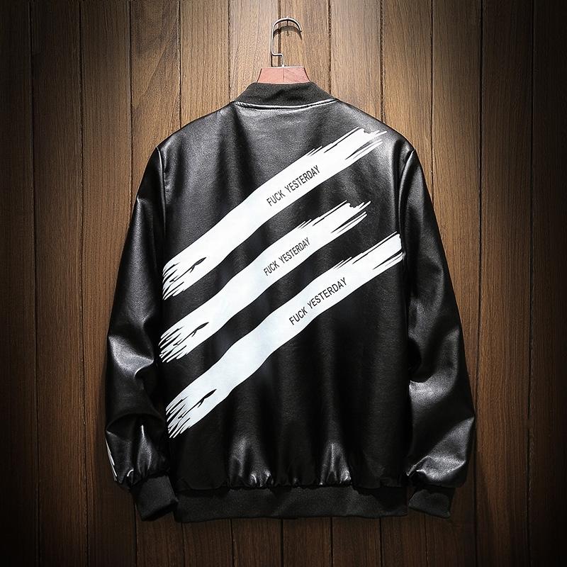 [해외]YuWaiJiaRen 남자 PU 가죽 자켓 봄 가을 패션 편지 인쇄 검정 백색 컨트라스트 컬러 힙합 봄 가죽 코트/YuWaiJiaRen Men&s PU Leather Jacket Spring Autumn Fashion Letter Print Black White
