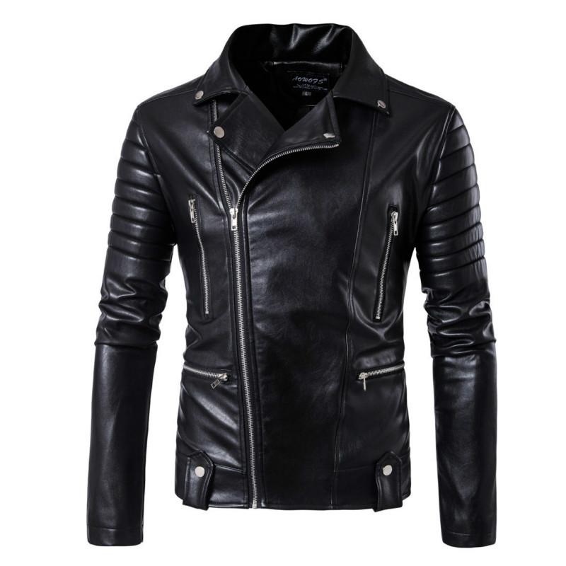 [해외]Mens coat 남성 모조 가죽 자켓 brand fashion coat men 검은 오토바이 자켓 오블 리크 지퍼 슬림 피트 펑크 가죽/Mens coats male faux Leather jacket brand fashion coat men Black Moto