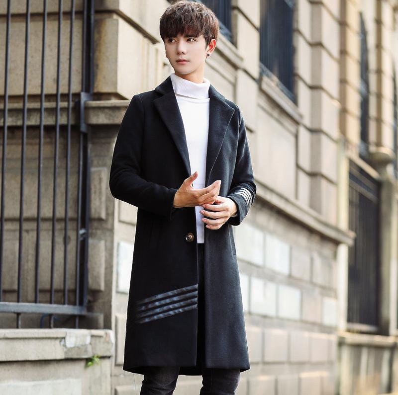 [해외]M3XL 2017 신 남성 의류 겨울철 윈드 브레이커 가죽 싸움 성격에서 모든 경기 모직 코트/M3XL 2017 New Men&s Clothing In the long winter windbreaker leather fight personality all-mat