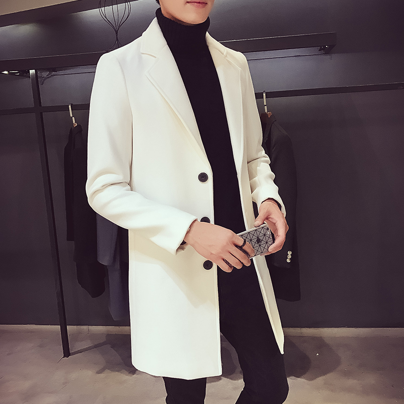 [해외]남성 중간 긴 트렌치 2017 가을과 겨울 슬림 얇은 겉옷 울 코트 남성 의류/Male medium-long trench 2017 autumn and winter slim thin outerwear wool coat men&s clothing