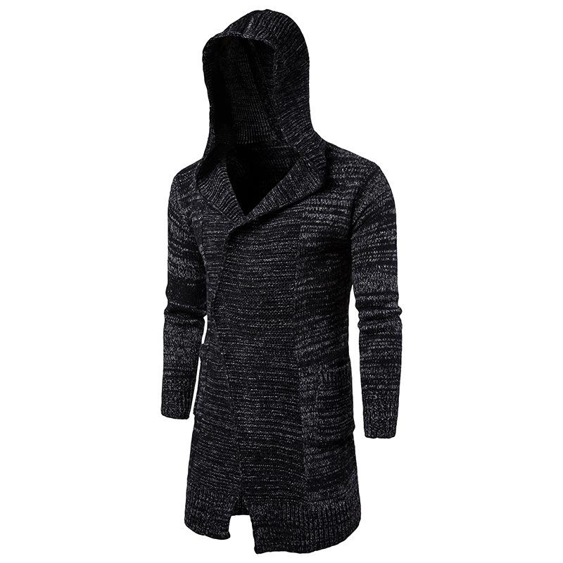 [해외]긴 트렌치 코트 남자 후드 가디건 남성 스웨터 2017 패션 남자 니트 가을 겨울 남성 & 패션 캐주얼 완두콩 코트 Overcoat/Long Trench Coat Men Hooded Cardigan Mens Sweater 2017 Fashion Men K