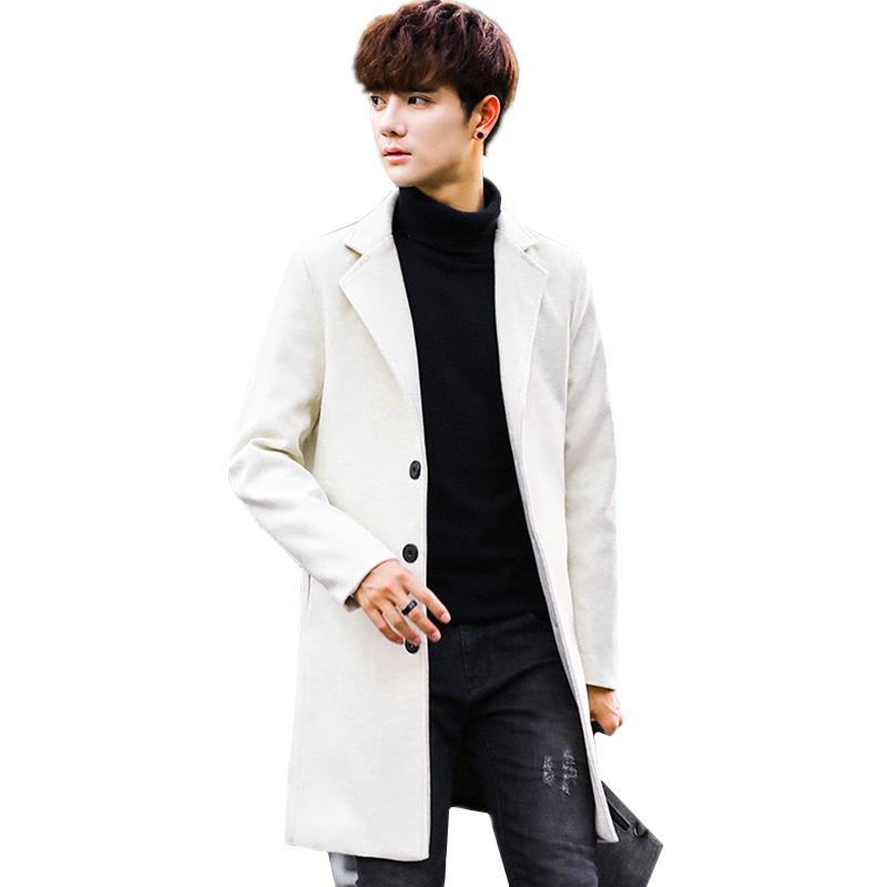 [해외]화이트 남성 & 윈드 브레이커 자켓 패션 비즈니스 캐주얼 남성 롱 코트 슬림하고 따뜻하고 편안한 옷 카키색 블루 트렌치/White Men&s Windbreaker Jacket Fashion Business Casual Men Long Coats Young