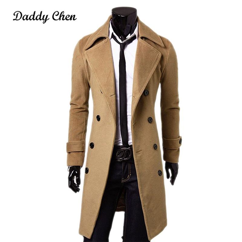 [해외]새로운 패션 브랜드 가을 재킷 롱 트렌치 코트 남자 최고 품질 슬림 블랙 남성 오버코트 망 카키색 코트 트렌치 코트 윈드 브레이커/NEW Fashion Brand Autumn Jacket Long Trench Coat Men Top Quality Slim Bla