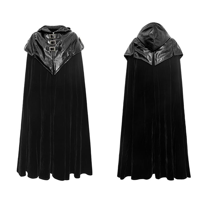 [해외]펑크 뉴 고딕 후디 케이프 X- 롱 코트 패트릭 짙은 남성 클로킹 코트 루스 블랙 트렌치 오버코트 지퍼 가죽 코트/Punk New Gothic Hoodie Cape X-Long CoatPattern Thick Men Cloak Coat Loose Black Tr