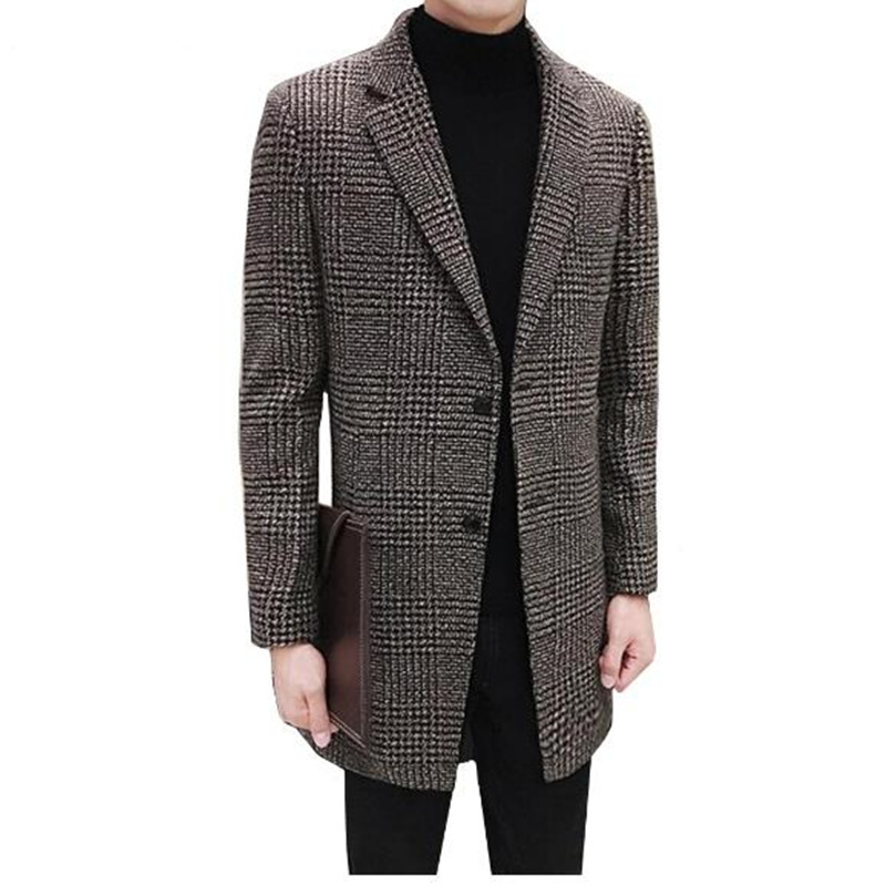 [해외]남성 의류 -21 남성 롱 체크 무늬 슈트 디자인 남성용 넥 믹스 슬림 피트 용 윈드 브레이커 코트 망 트렌치 코트 브랜드 의류/Men&s clothing-21 Men Long  Plaid Suit Design Men&s Neck Mixes Slim Fit Wi