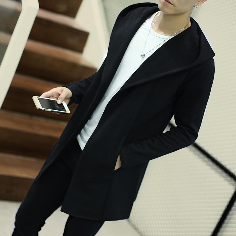 [해외]패션 슬림 중간 길이 트렌치 코트 남성 자 켓 남성 후드 카디 건 오버 코트 오픈 스티치 솔리드 스웨터 아우터 플러스 크기 5XL/Fashion slim medium-long trench coat men jackets male Hooded cardigan ove