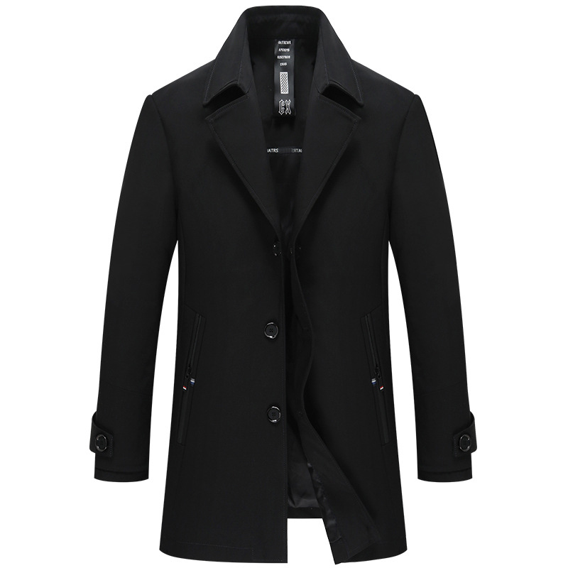 [해외]우수한 품질 턴 다운 칼라 트렌치 맨 자켓 중간 롱 블랙 다크 블루 컬러 Trenchcoat Mannen/Excellent Quality Turn Down Collar Trench Man Jacket Medium Long Black Dark Blue Colors