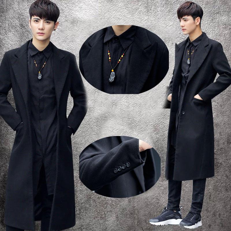 [해외]남성 가을 겨울 착실히 보내다 들어 2016 남자의 슬림 모직 롱 트렌치 코트 옷깃 자켓 윈드 파카 외투/2016 Men&s Slim Woolen Long Trench Coat Lapel Jacket Windbreaker Parka Overcoat For Men