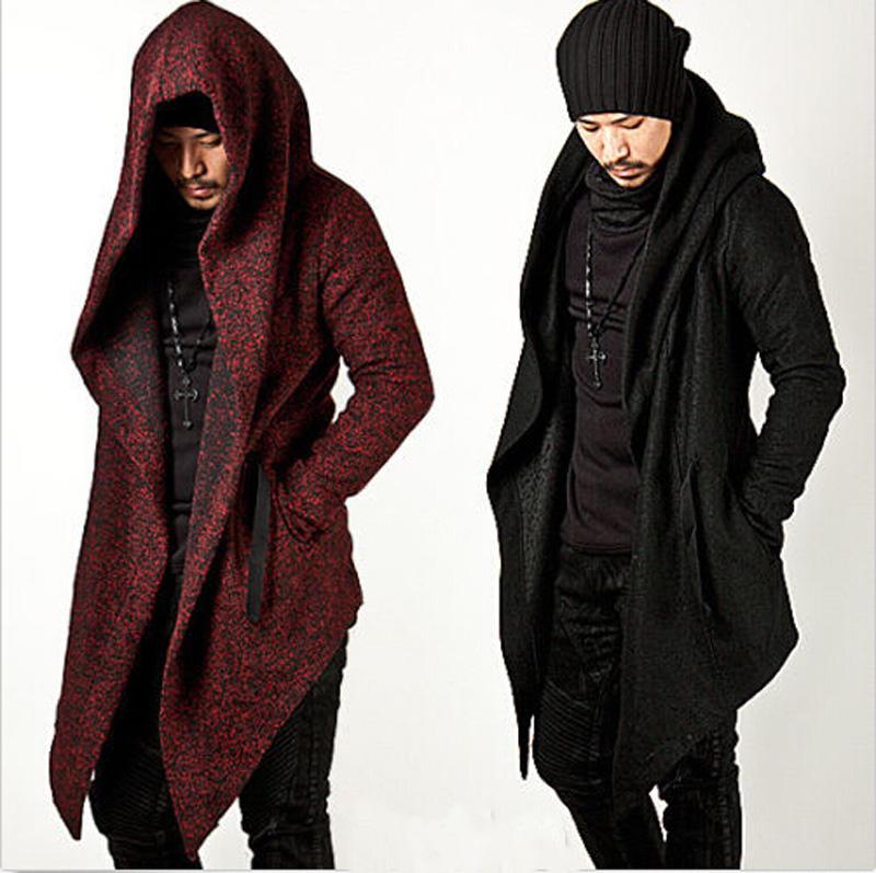[해외]2017 Avant Garde Men 's 패션상의 자켓 아웃웨어 후드 케이프 코트 망 망토 의류 (Black / Red) M-2XL/2017 Avant Garde Men&s Fashion Tops Jacket Outwear Hood Cape Coat M
