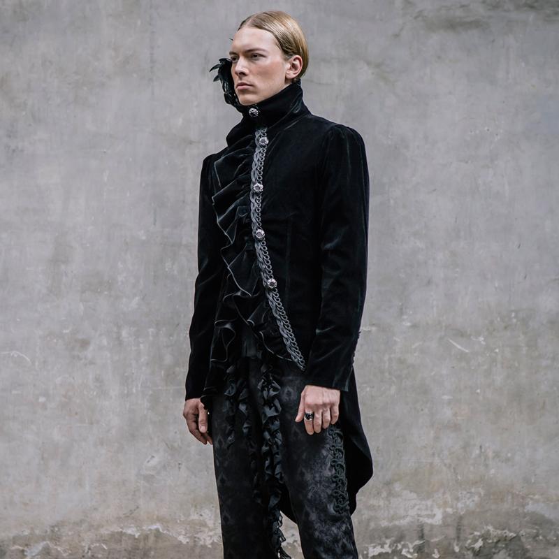 [해외]DEVIL FASHION 고대 펑크 겉옷을 복원하는 궁전 폴리 에스테르 높은 칼라 겨울 남성 먼지 코트/DEVIL FASHION Palace restoring ancient ways punk outerwear coat Polyester High collar Wi