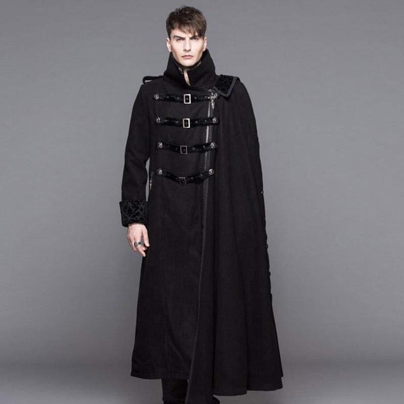 [해외]악마의 패션 Steampunk Epaulet 긴 검은 색 트렌치 코트 남자 따뜻한 고딕 두꺼운 오버코트 Detetable Cape Winter Wearing/Devil Fashion Steampunk Epaulet Long Black Trench Coat Men