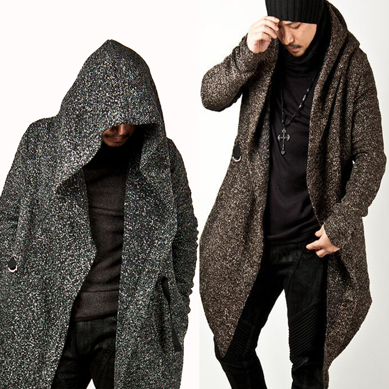[해외]New Mens 캐주얼웨어 양모 Avant-garde 스타일 디아 로봇 후드 숯 코튼 코트 트렌디 맨스 자켓 아웃웨어 망 망토 의류/New Mens Casual Wear Wool Avant-garde Style Diabolic Hood Charcoal Cape