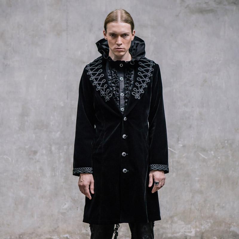 [해외]새로운 악마 패션 고딕 펑크 팰리스 빈티지 더스트 코트 스테이지 퍼포먼스 슬림 피트 모직 코트/The New Devil Fashion Gothic Punk Palace Vintage Dust Coat Stage Performance Man Slim Fit Woo