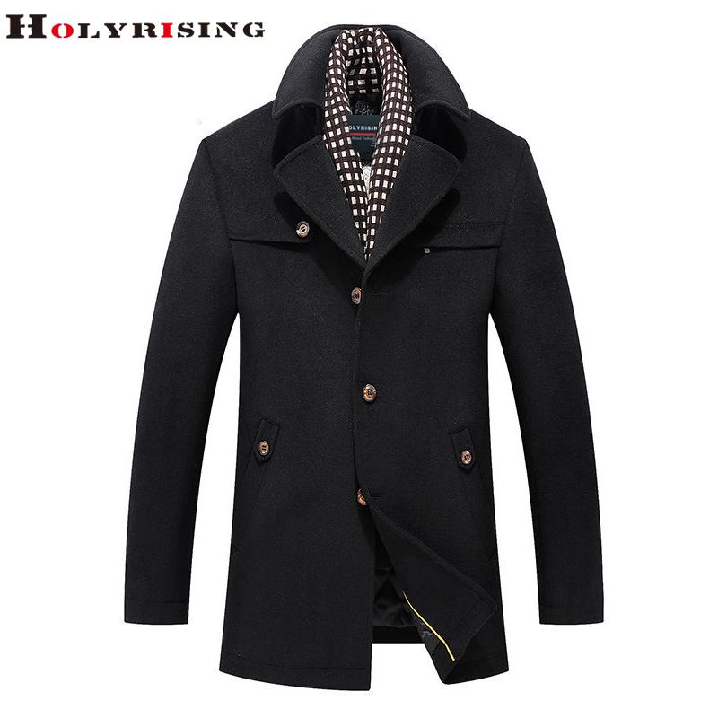 [해외]겨울 캐주얼 모직 재킷 클래식 가을 단일 버튼 비즈니스 모직 코트 남자 따뜻한 아웃웨어 카키 블랙 M-3XL Holyrising/Winter Casual Woolen Jackets Classic Autumn Single Button Business Wool Co