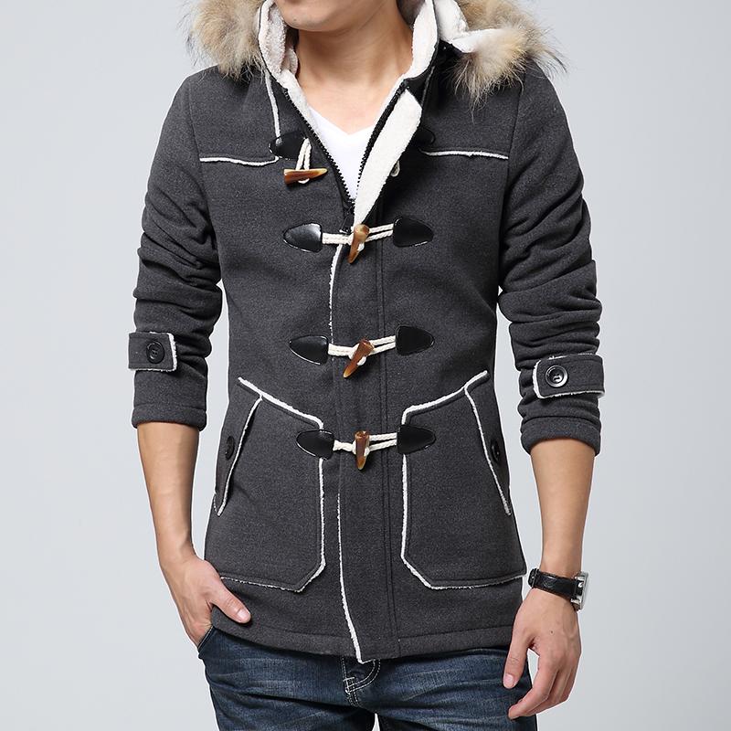 [해외]남자 & 양모 모직 옷감 코트 롱 조커 플러스 잉글랜드 청소년의 양모 코트 봄과 가을 동안 그의 모자에/Men&s Wool Woolen Cloth Coat Long Joker Plus More Wool Coat Of England Youth During